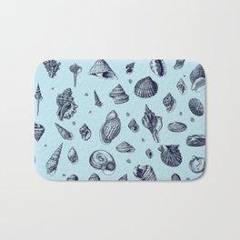 Sea shells pattern in blues Bath Mat