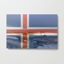 Icelandic flag composite over thingvellir national park Metal Print