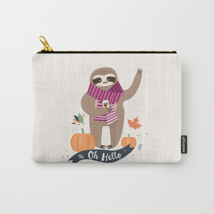 Comfy Sloth for the Fall & Pumpkin Carry-All Pouch