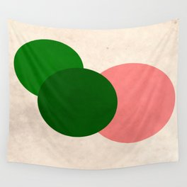Peach Green Vintage Mod Circles Wall Tapestry