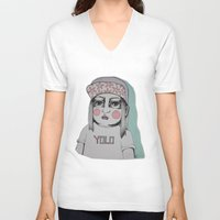 yolo V-neck T-shirts featuring Yolo  by Agnes Emilia
