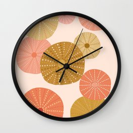 Sea Urchins in Coral + Gold Wall Clock