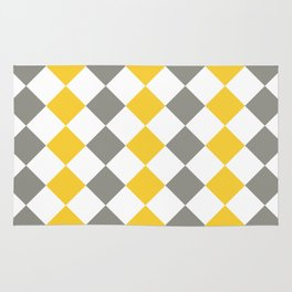 Gray and yellow square pattern Rug