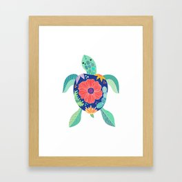 Sea turtle with large poppy flower on the shell Framed Art Print