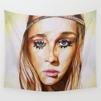 hippie Wall Tapestries featuring Hippie Girl by Liz Slome