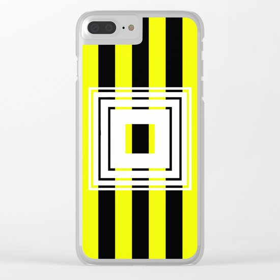 Bumblebee Box - Geometric, bold, yellow and black striped design Clear iPhone Case