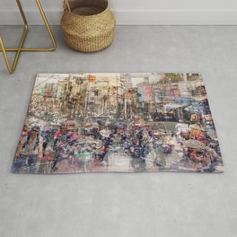 Saigon, abstract city life and traffic concept -   street photography  double exposure Rug