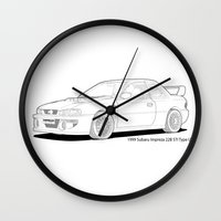 subaru Wall Clocks featuring Subaru Impreza 22B STI Type UK Line Illustration by Digital Car Art