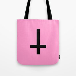 Inverted Cross on Pink Tote Bag