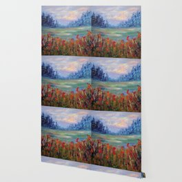 Abstract Landscape Painting, Between Dimensions, Modern Home decor Wallpaper