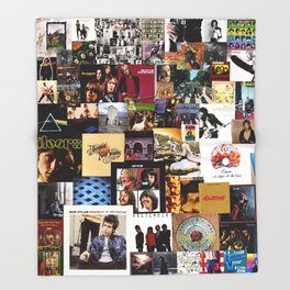 Classic Rock And Roll Albums Collage Throw Blanket