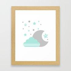 Moon And Cloud Framed Art Print