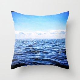 Deep Blue Seaside Throw Pillow