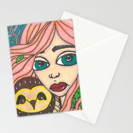 Girl with Owl Stationery Cards