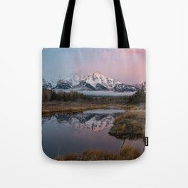 Snowy Pink Sunrise in the Tetons Tote Bag