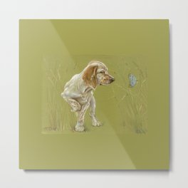 The First Spring Butterfly English Setter Puppy Pastel Drawing on green background Metal Print