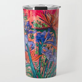 Icarus Floral Still Life Painting with Greek Urn, Irises and Bird of Paradise Flowers Travel Mug