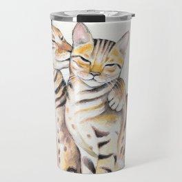 Bengal Cats Love Watercolor Ink Art Travel Mug