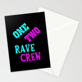 One two rave crew rave logo Stationery Cards