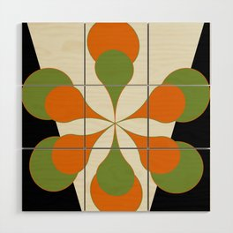 Mid-Century Modern Art 1.4 - Green & Orange Flower Wood Wall Art