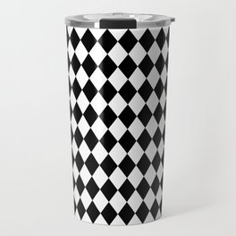 Classic Black and White Harlequin Diamond Check Travel Mug