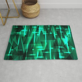 Bright azure green highlights on triangles and stripes of metal. Rug