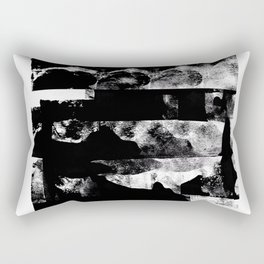 Stacked - Abstract Black and White Rectangular Pillow