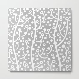 Mid Century Modern Spring Blossoms Gray Metal Print