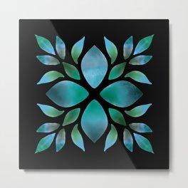 Mandala Green leaves Metal Print