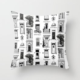 Old Town Alexandria Repeat B&W Throw Pillow