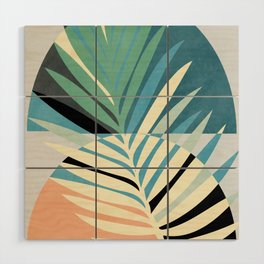 palm leaf minimal mid century modern Wood Wall Art