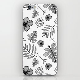 Hawaiian Hibiscus Flower and Tropical Leaf Pattern iPhone Skin
