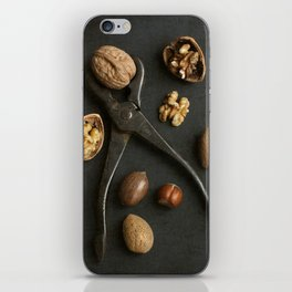 Mixed nuts and vintage wrench. iPhone Skin
