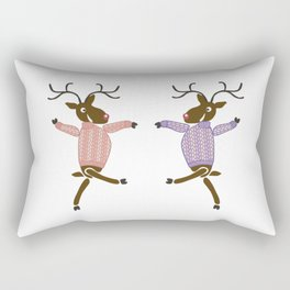 Funny dancing Christmas reindeer in sweaters Rectangular Pillow