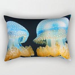 Double Blue Jellyfish - Underwater Photography Rectangular Pillow