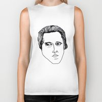 christopher walken Biker Tanks featuring Walken by a.DeFelice