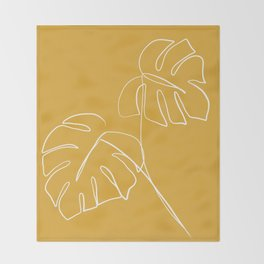 Monstera minimal - yellow Throw Blanket