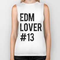 edm Biker Tanks featuring EDM Lover #13  by DropBass