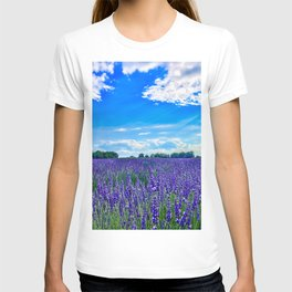 Wildflowers Blooming in a Meadow | Purple Lavender Perennials Deep Blue Sky Spring Landscape France T-shirt