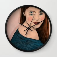 iris Wall Clocks featuring Iris by Sofia Azevedo