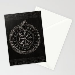 Vegvisir with Ouroboros and runes Stationery Cards