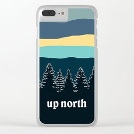 up north, teal & yellow Clear iPhone Case