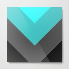 Aqua Gray Chevron Stripes Metal Print