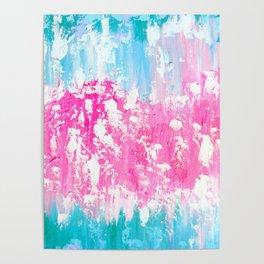 Pink and Aqua Poster