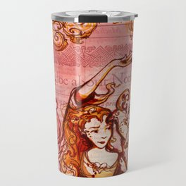 Much Ado About Nothing - Masquerade - Shakespeare Folio Illustration Travel Mug