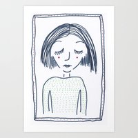polkadot Art Prints featuring Polkadot girl by Frida Cecilia