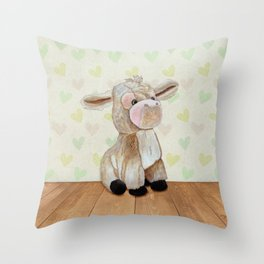 Cuddly Donkey Throw Pillow