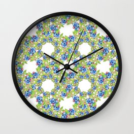 Maine Blueberries Lattice Design Wall Clock