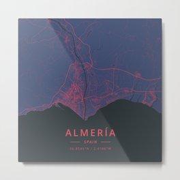 Almeria, Spain - Neon Metal Print
