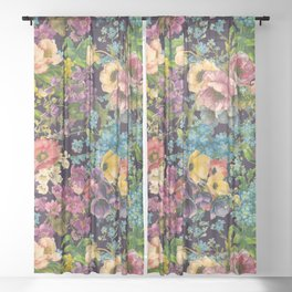 Vintage black floral pattern - shabby Chic foliage design  Sheer Curtain